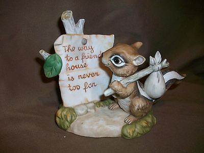 1988 Enesco Chipmunk Figurine Way To Friends House Is Never Too Far Friendship
