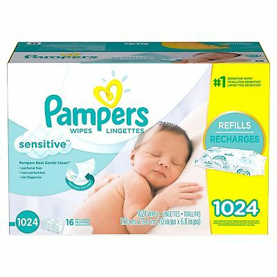 PAMPERS Sensitive Baby Wipes 1024ct.FREE SHIPPING & PERFUME FREE