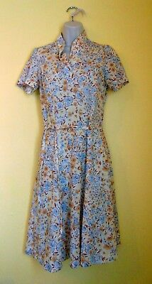 Vintage Womens Handmade Blue and Tan Floral Summer Dress Sz M/L