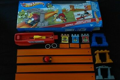 Hot Wheels Track Angry Birds Sling Shot Launch Red Angry Bird Car Pig Target Box