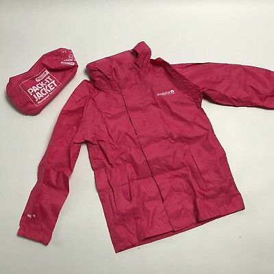 Regatta Pack It Jacket Pink Girls Age 3 - 4 Fold Up Waterproof Coat