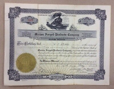 1924 Stock Certificate Marion Indiana Forged Products FREE SHIPPING INVP127