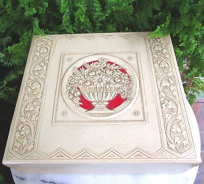Art Deco Faux Leather & Celluloid  Jewelry Box With Embossed Urn Of Flowers
