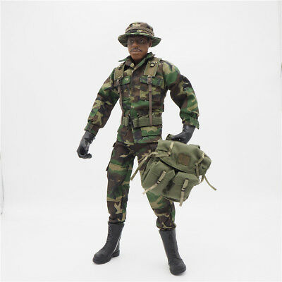 1/6 Scale Uniforms Coveralls Suit Woodland camo+hat Backpack B005 Action Figure