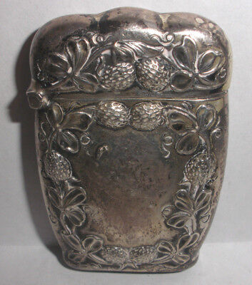 Antique Art Nouveau Sterling Silver Match Safe Case Vesta Repousse strawberry