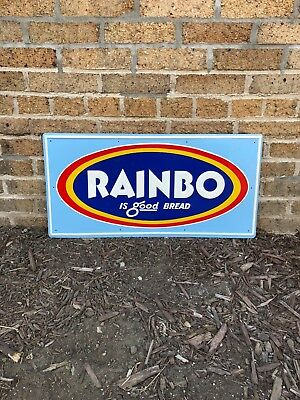 Vintage c. 1950's Rainbo Bread Tin Embossed Metal Sign