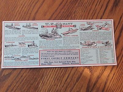 Original 1942 U.s. Navy Ships And Aircraft Ink Blotter, Oshkosh, Wisconsin, Wwii