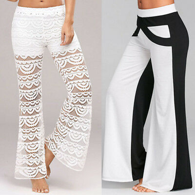 Women Lace Bell Bottoms Flare Trousers Mid Waisted Wide Leg Long Yoga Pants US