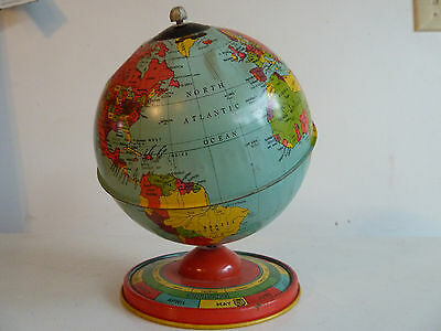 1950's Vintage Tin World Globe with Months and Horoscope--J. Chein & Company