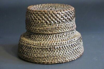 OLD Tribal Antique African Basket Congo West Africa Lidded Collectible Container