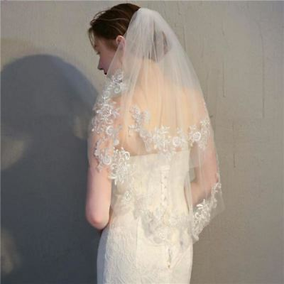 Short Bridal Veil with Two Layers & Appliques