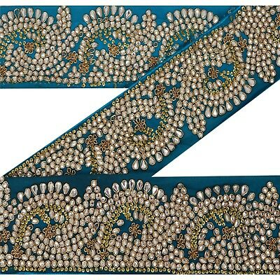 Sanskriti Vintage 1 Yd Sari Border Antique Hand Beaded Trim Sewing Blue Lace