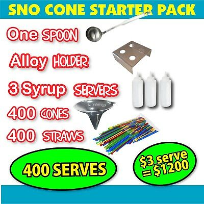 Sno Cone Kit- 400 cones & straws - Alloy Stand & Bottles & Spoon Snow Machine