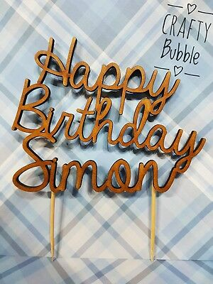 Personalised Happy Birthday Wooden Cake Topper Any Colour