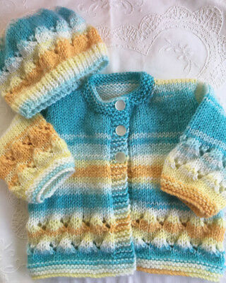 * New Born Plus *2 Piece Baby Jacket Set * Multicolours * Aust Hand Knitted *