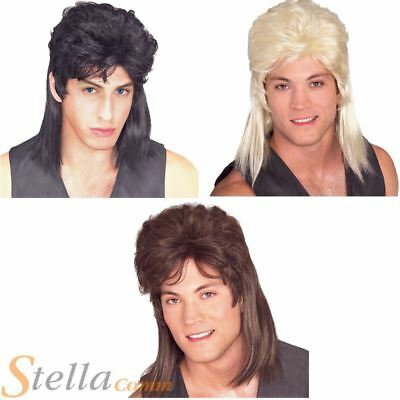 Deluxe Mullet 1980s Hill Billy Fancy Dress Costume Wigs - Black Brown & Blonde