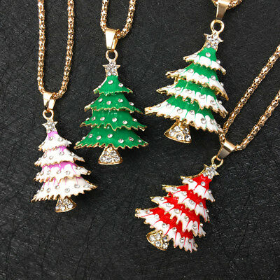 Gold Plated Enamel Rhinestone Lovely 3D Christmas Tree Pendant Necklace Chain