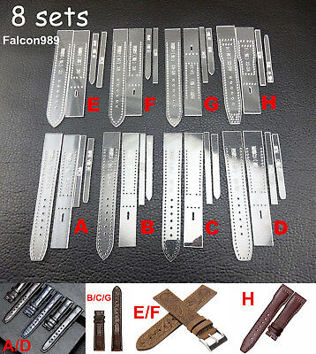 8set 4style Leather Craft Acrylic Perspex Watch Strap Band Stencil Template Tool
