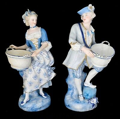 A Pair Of Antique Vion And Baury French Porcelain Figurines Late 1800's