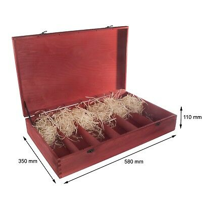 Red Wooden Wine Box Holds 6 Bottles / Gift Holder / Hinges and Clasp / Craft