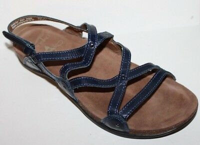 02550b691 Dansko EEUC Women 8 38 Navy Blue Jovie Patent Leather Strappy Sandals Worn  1x