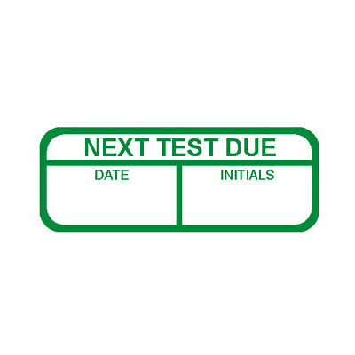 Next Test Due Labels, Green Mark & Seal, 40 x 15mm, Pack Of 120