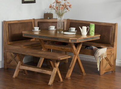 Vintage Breakfast Kitchen Nook Table Set Cushion Storage Seat Natural Wood 4 PC