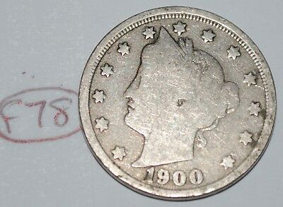United States 1900 Liberty Head Nickel USA 5 Cents Coin Lot #F78
