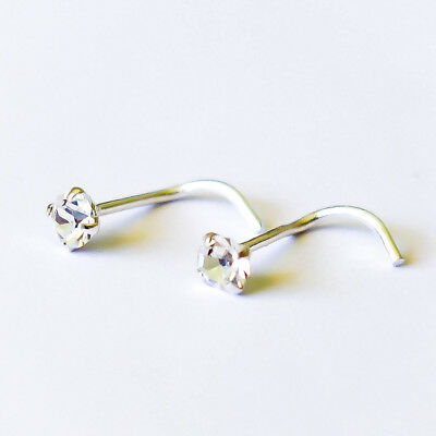 1pc 925 Sterling Silver CZ Classic Twist Nose Ring Stud Body Piercing