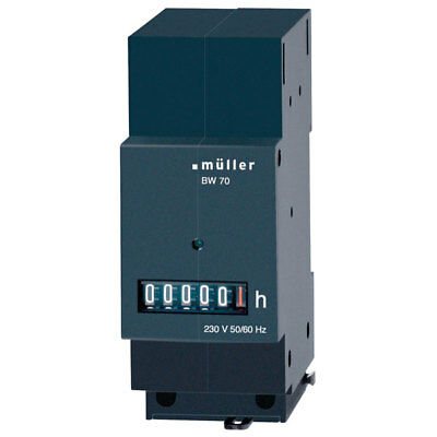 Muller BW7029 Operating Hours Counter DIN Rail Mount 45x35mm 230VAC