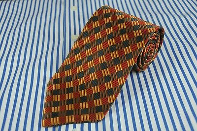 XMI Classic Men's Tie Gray Red & Gold Geometric Woven Silk Necktie 58 x 3.5 in.