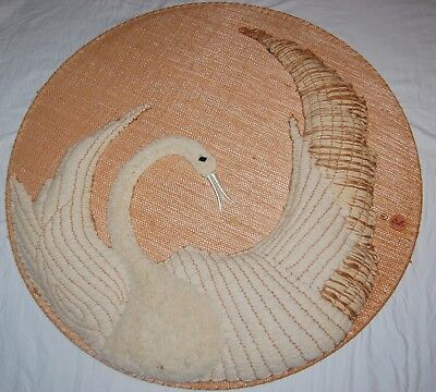 Vintage Round Swan Rug Straw Wicker Twine Large Art Wall Hanging Signed DF 70s