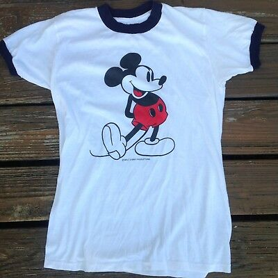 Vintage Mickey Mouse T Shirt M Medium 70s 80s Ringer Walt Disney Florida World