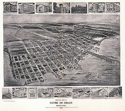 1907 HAVRE de GRACE MARYLAND map GENEALOGY atlas  poster HARFORD county   MD 07