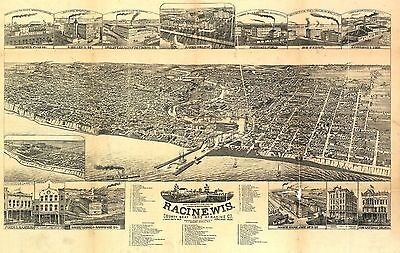 wi44 Antique old panoramic map WISCONSIN genealogy family history RACINE 1883