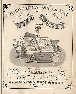 WILL COUNTY ILLINOIS plat map old GENEALOGY 1873 Atlas LAND OWNERSHIP  DVD