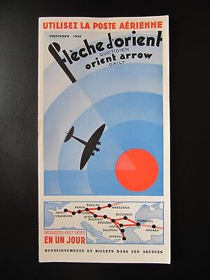 CIDNA air timetable spring 1933 map FRANCE PARIS PRAGUE BUDAPEST ISTANBUL ATHENS