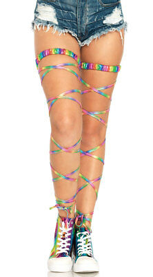 One Size Fits Most Womens Metallic Rainbow Gartered Leg Wraps