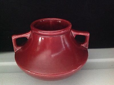 Camark Pottery Mini Vase 2 Handled Maroon Red Arts & Crafts Style