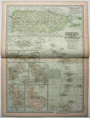 Original 1898 Map of Porto Rico & The Lesser Antilles by The Century Company