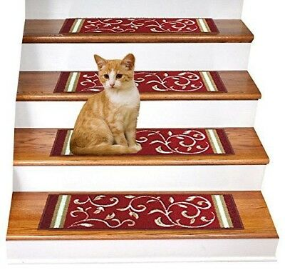 Rugsmart Rubber Backing Skid Resistant Carpet Stair Treads Set Of 7 Red