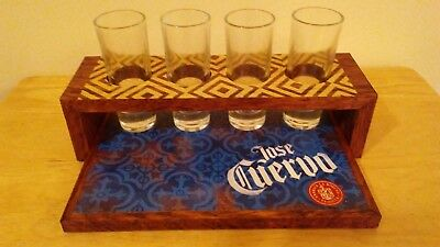 Jose Cuervo Serving Tray with Four Tall Shot Glasses - New!