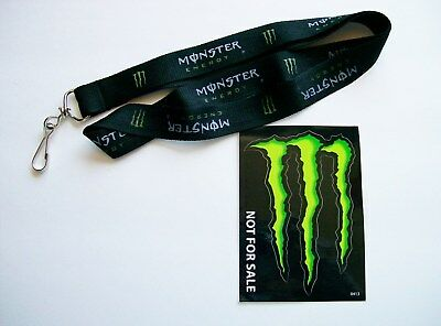 NEW Monster Energy Drink Lanyard and Sticker Decal
