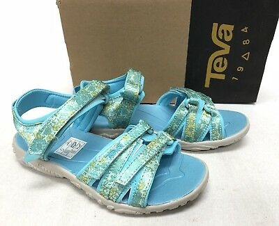 3f0ff10a96b5 Teva Kids Tirra Floral Turquoise Floral Girls Strappy Hook and Loop Closure  Shoe