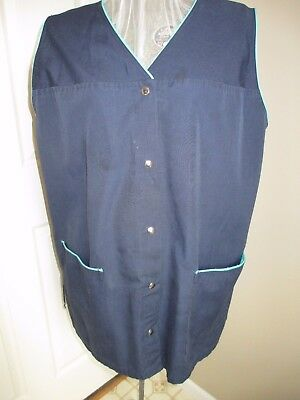 Vintage  Navy Apron Vest Snap Front Navy with green binding Two Large Front Pock
