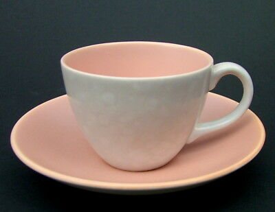 Poole Twintone Pink / Peach Bloom & Seagull C97 100ml Coffee Cups & Saucers VGC