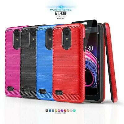 for LG TRIBUTE DYNASTY, [Modern Series] Phone Case Hybrid Cover +Tempered Glass
