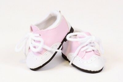 """Pink and White Saddle Shoes made for 18/"""" American Girl Doll Clothes"""