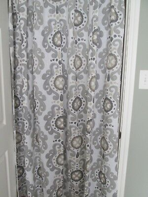 Target Gray Tan And White Print Fabric Shower Curtain
