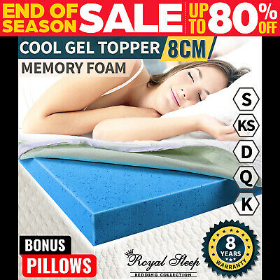 COOL GEL Memory Foam Mattress Topper BAMBOO Fabric Cover Pillow All Sizes 8CM